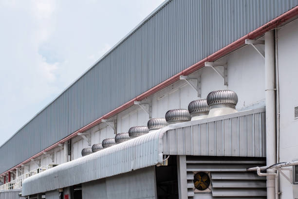 Air ventilation system on rooftop of factory stock photo
