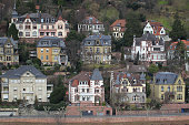 istock Air view of traditional Old town village of Hirschhorn across river Neckar in autumn sun, Heidelberg, Germany 1263417733