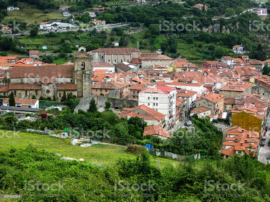 Air view on small medieval town. Laredo, Cantabria, Spain stock photo