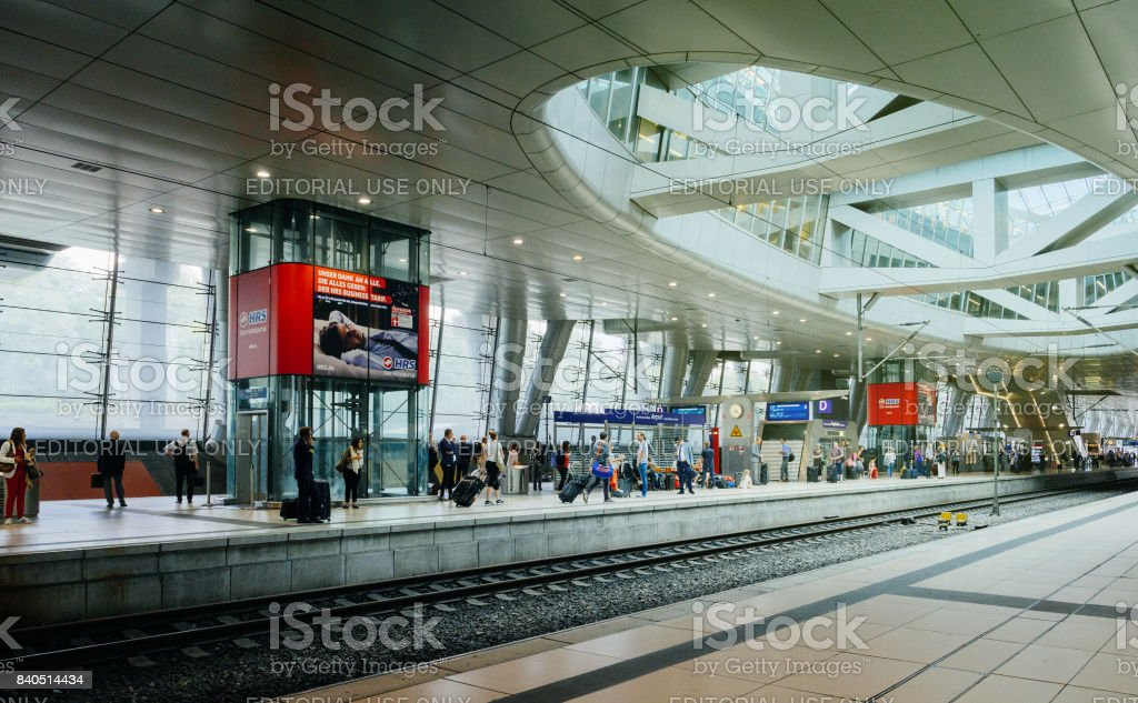 AiRail terminal in Frankfurt International Airport with commuters waitinng for the train stock photo