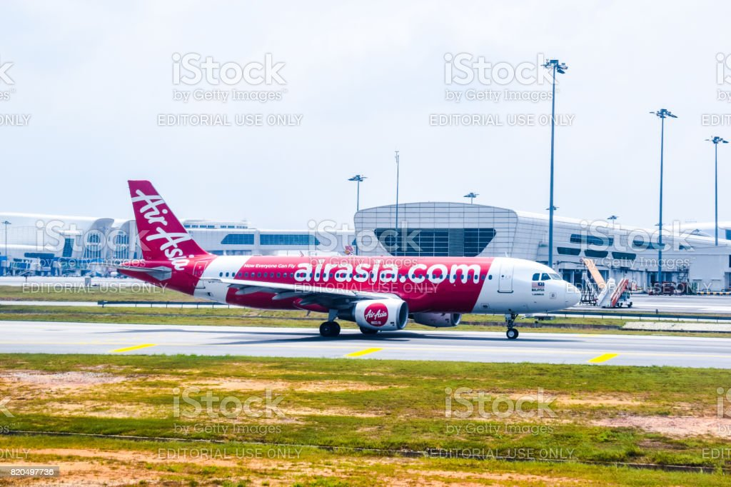 AirAsia Malaysia Airbus 320 ready for take off stock photo