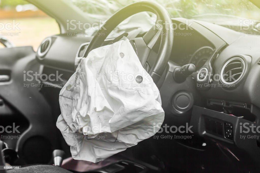 Airbag exploded stock photo
