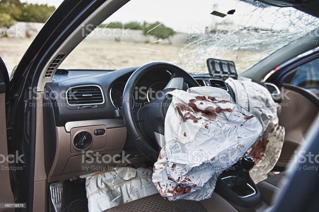 Airbag in car crash stock photo