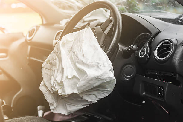 airbag work - car accident stock photos and pictures