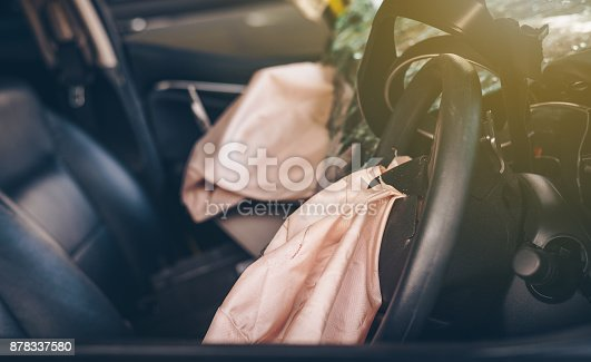 istock Airbags that explode after an accident.Car Safety Concept. 878337580