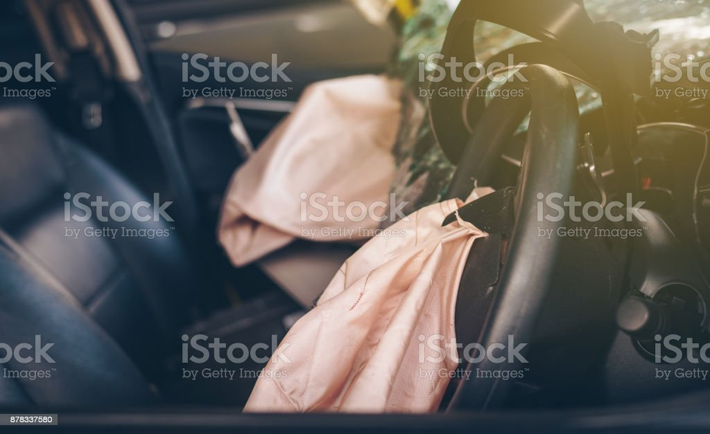 Airbags that explode after an accident.Car Safety Concept. stock photo