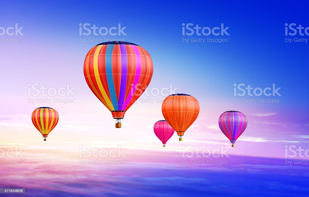 air-balloons in sky stock photo