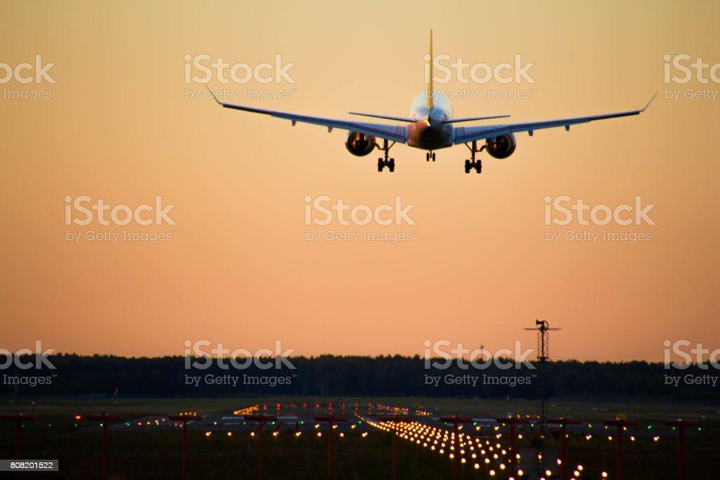 airBaltic CS300 on final Runway 36 stock photo