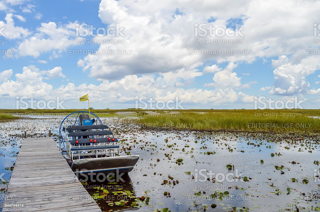 Airboat on the swamp of the Everrglades stock photo