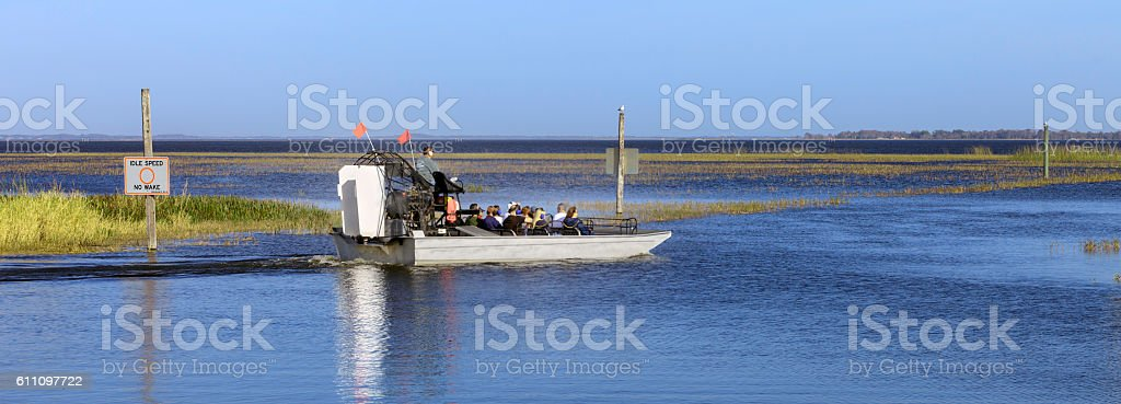 Airboat Ride on Lake Toho in Kissimmee, FL stock photo
