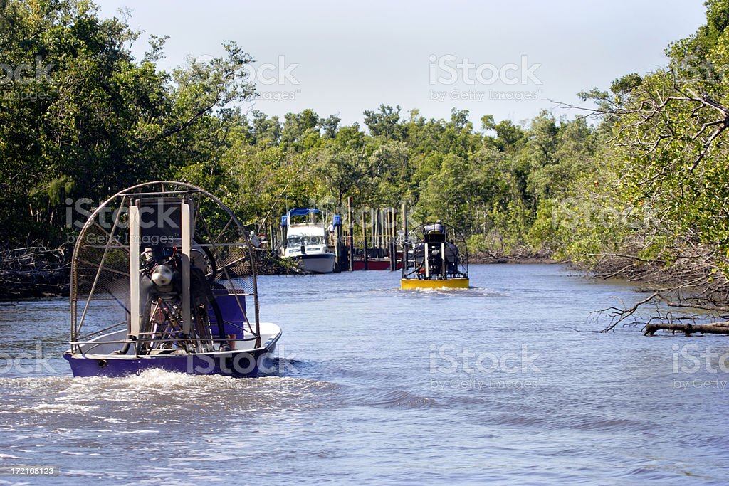 Airboats on the River stock photo