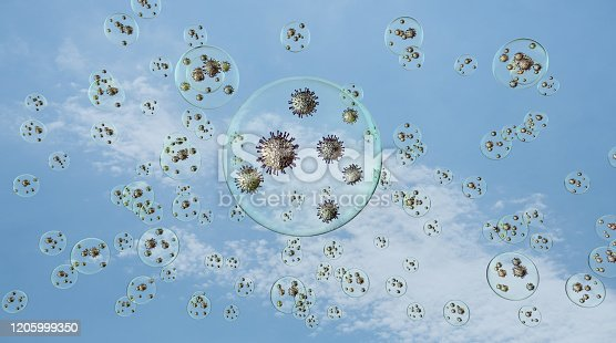 airborn virus floating aroud in droplets on blue sky background., 3d illustration