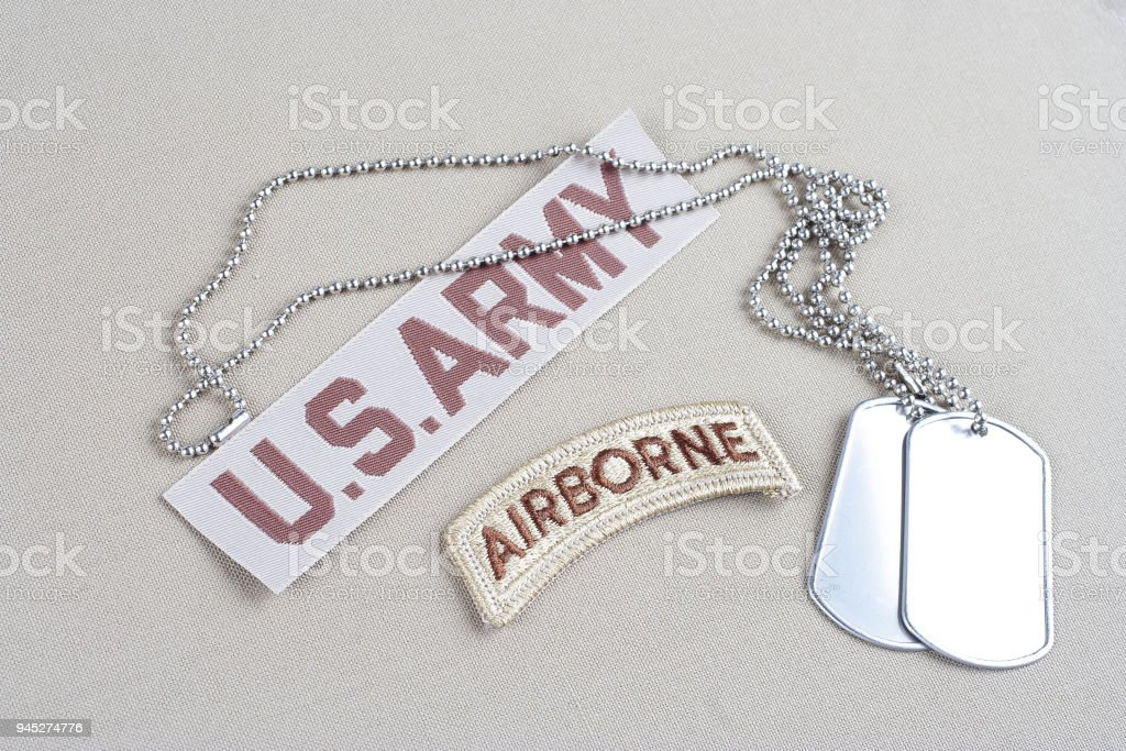 US ARMY airborne tab with dog tag stock photo