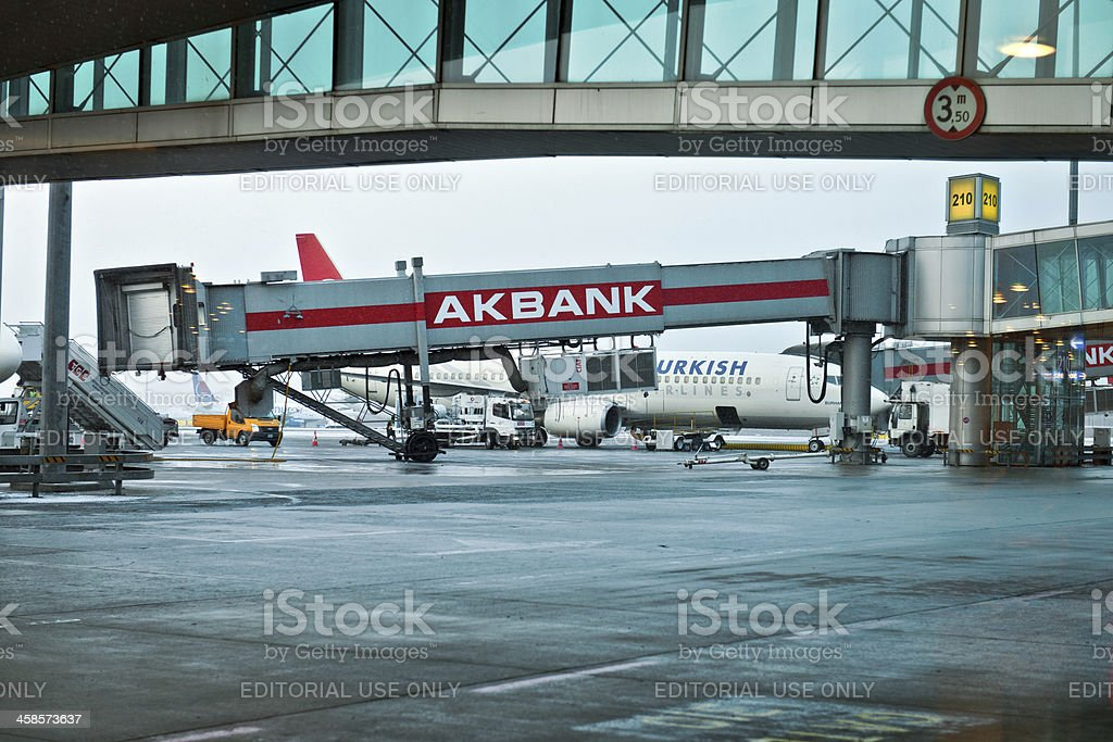 Airbridges and Planes at Ataturk Airport Istanbul Turkey royalty-free stock photo