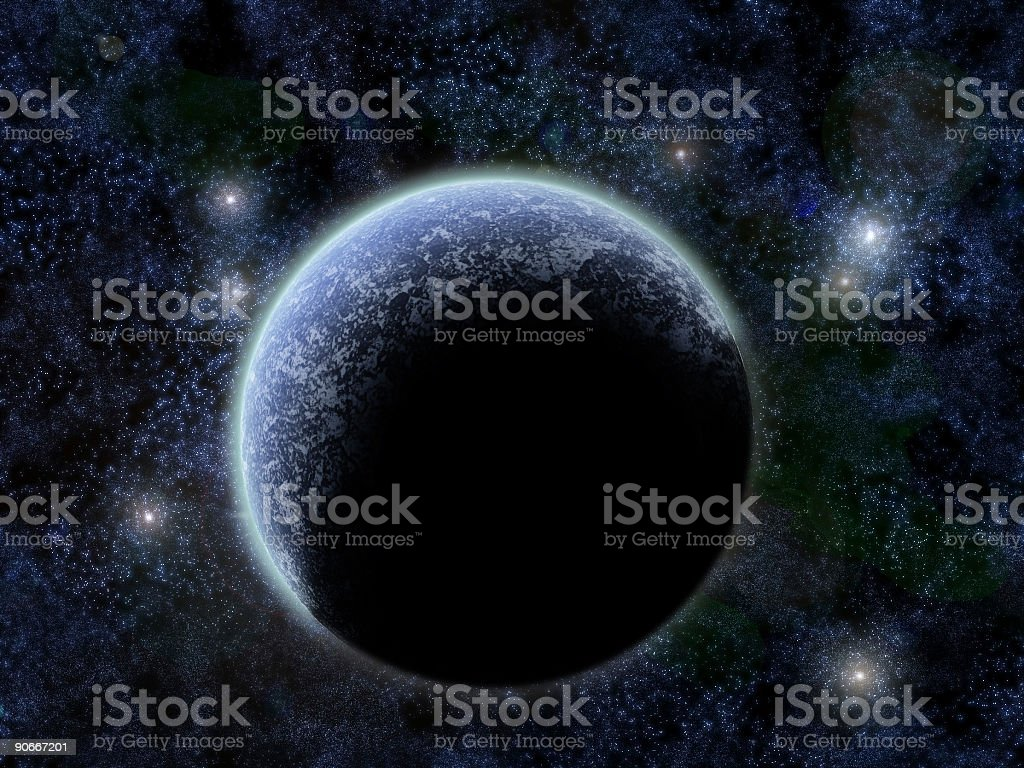 Airbrushed planet and stars royalty-free stock photo