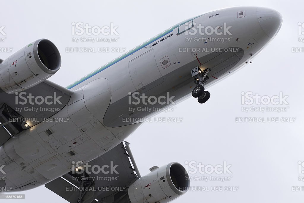 Airbus 320 aircraft coming to land stock photo