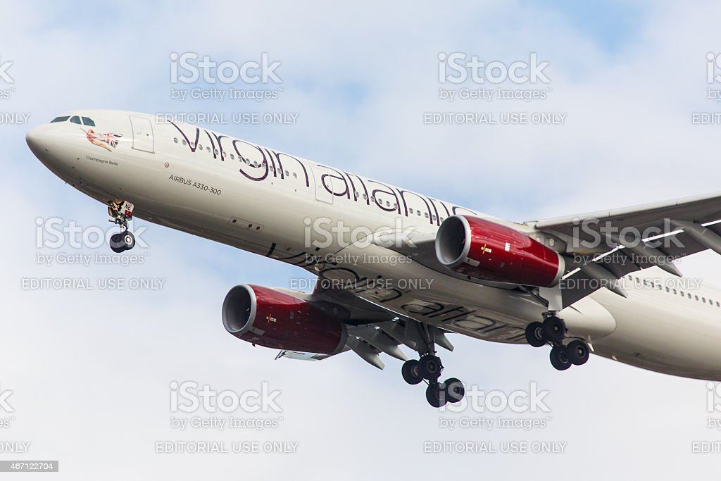 Airbus 330 Virgin Atlantic arrives at JFK International Airport stock photo