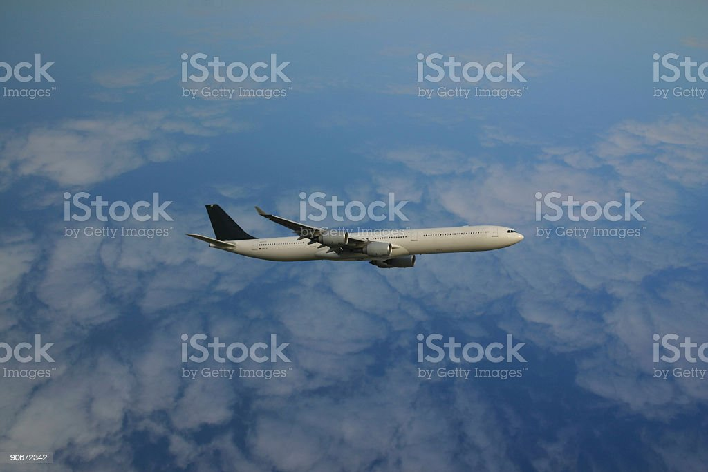 Airbus 340 airplane, flight at high altitude royalty-free stock photo