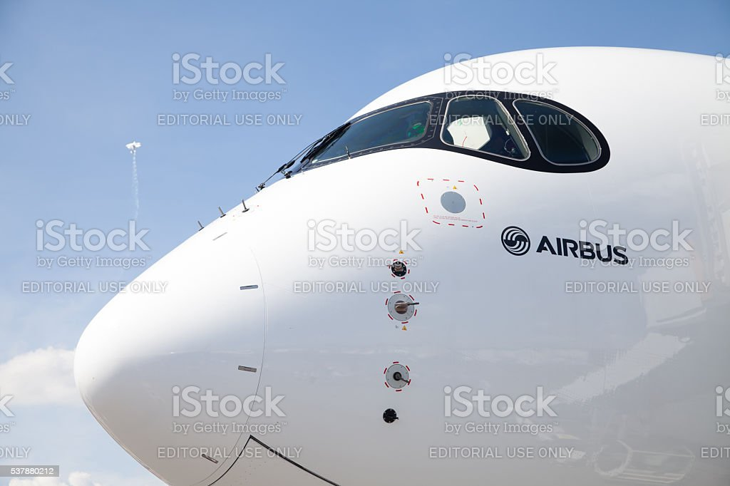 Airbus A 350 - 900 plane stands on airport Berlin, Germany - June 3, 2016: Airbus A 350 - 900 plane stands on airport in Berlin / Germany on June 3, 2016. Air Vehicle Stock Photo