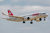 Airbus A220-300 operated by Swiss on landing