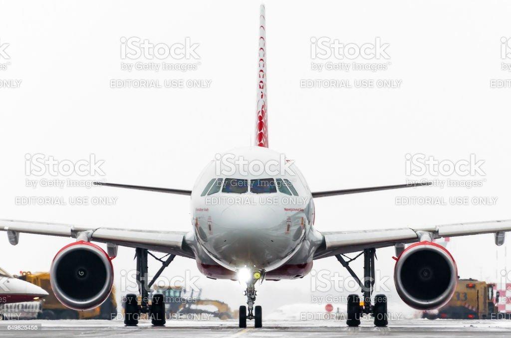 Airbus a319 Rossiya líneas aéreas, aeropuerto de Pulkovo, San Petersburgo Rusia enero de 2017 - foto de stock
