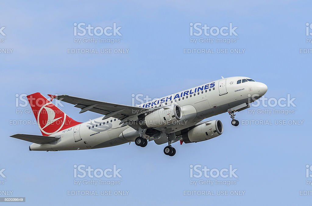 Airbus A319 taking off, Riga International Airport royalty-free stock photo