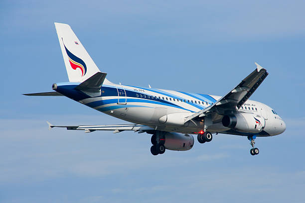 hs-ppa  airbus a319-100 of bangkokairway. - respiratory tract stock photos and pictures