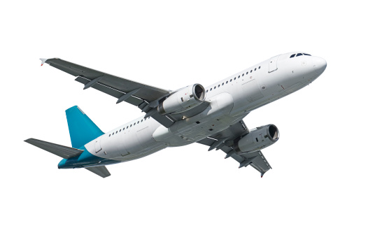 wheels up Airbus A320 airplane isolated on white with clipping path