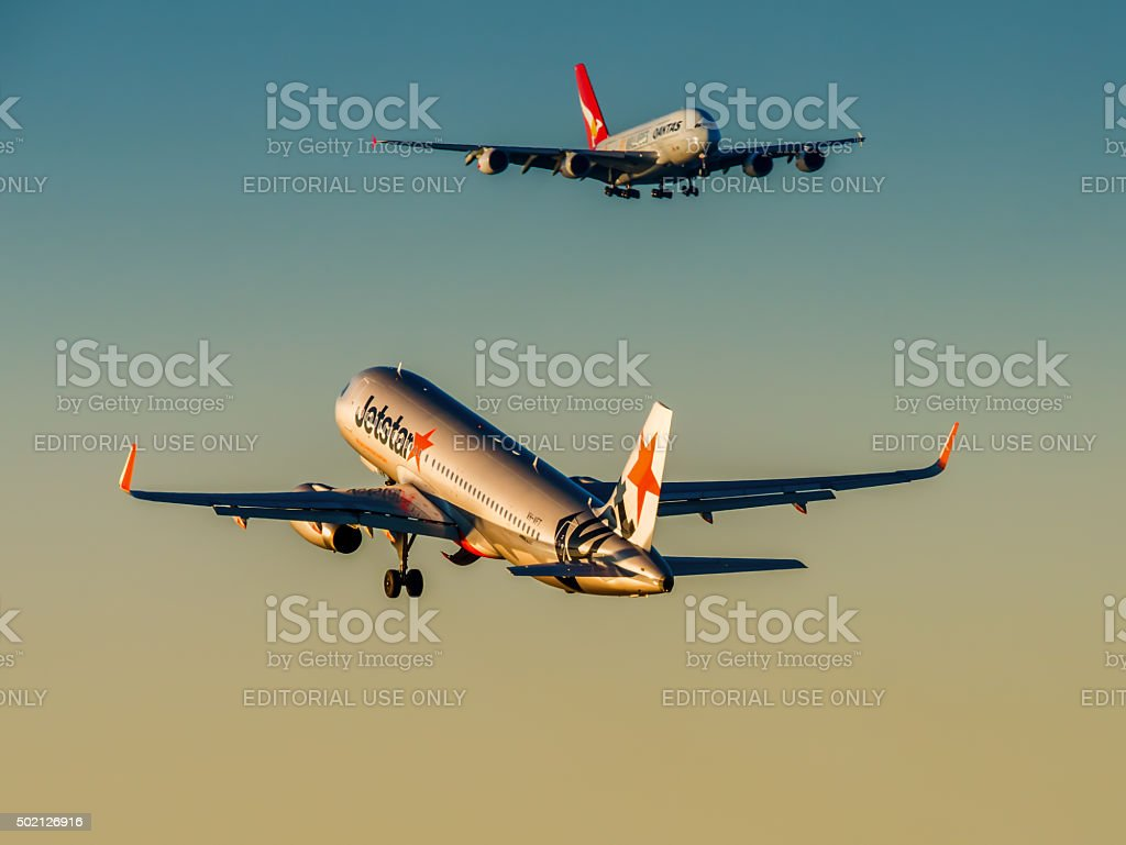 Airbus A-320 and A-380 stock photo
