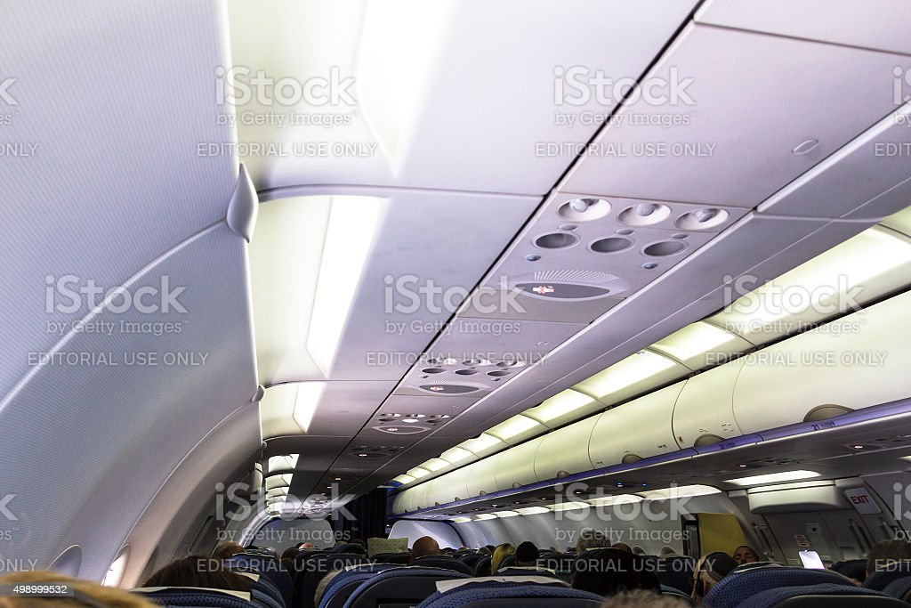 Airbus A320 Family's spacious cabin include wider seats stock photo