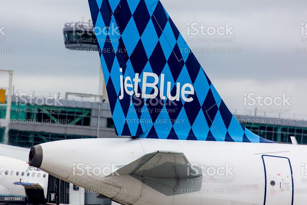 Airbus A320 JetBlue tailfin with Harlequinon design stock photo