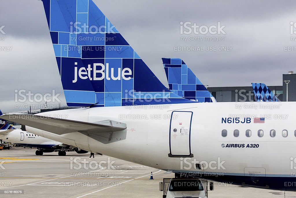 Airbus A320 JetBlue tailfin with Mosaic design stock photo