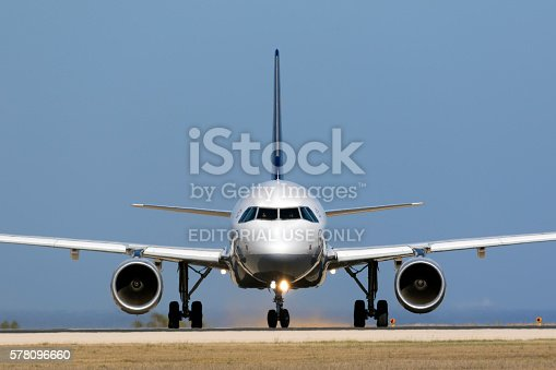 istock Airbus A320 preparing to take off 578096660