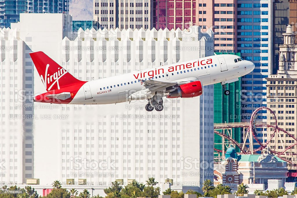 Airbus A320 Virgin America takes off from McCarran Airport stock photo