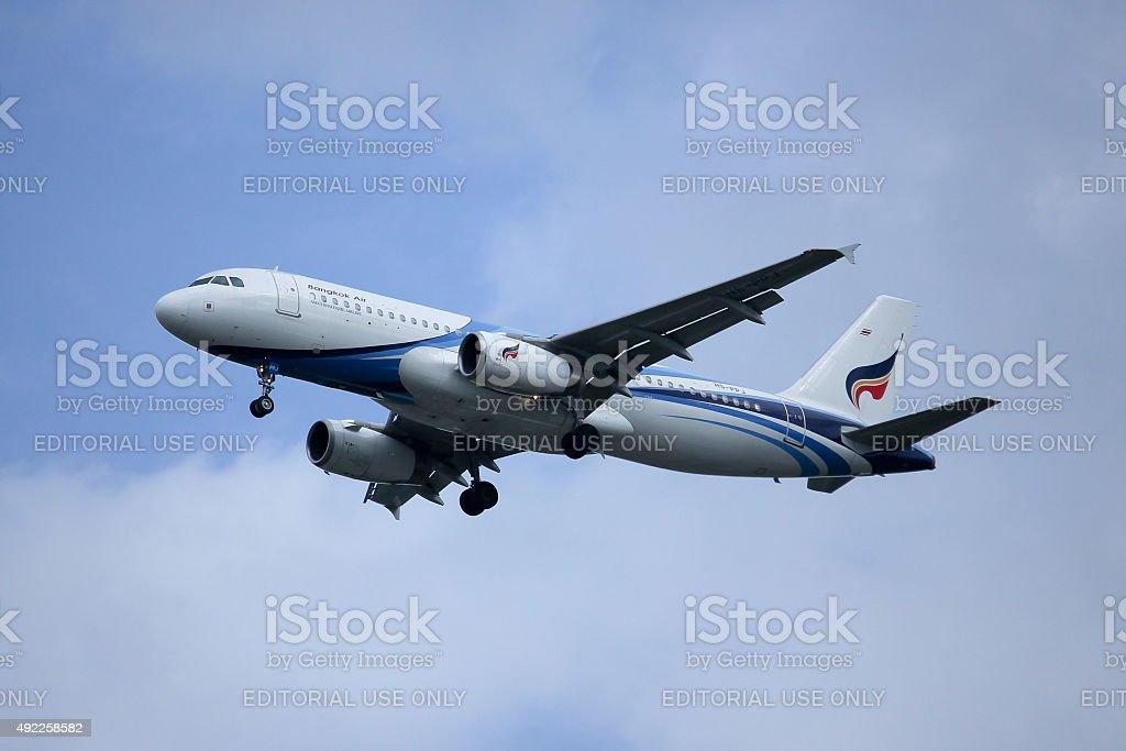 HS-PPJ Airbus A320-200 Chiangmai, Thailand -October 7, 2015:  HS-PPJ Airbus A320-200 of Bangkokairway airline, landing to Chiangmai airport from Bangkok Suvarnabhumi. thailand. 2015 Stock Photo