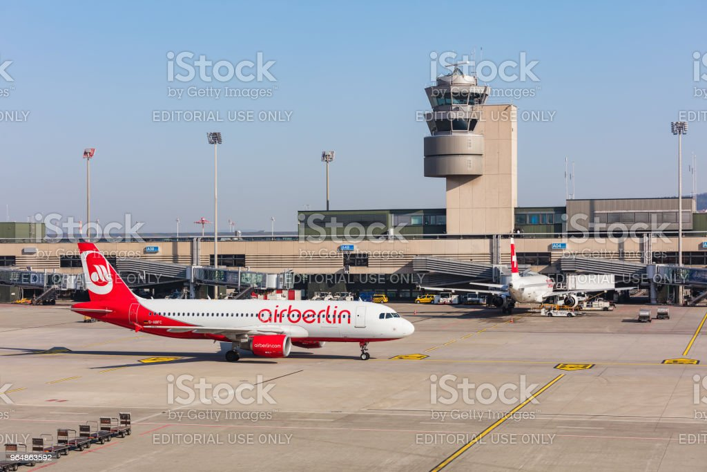 Airbus A320-214 of Air Berlin taxiing at Zurich airport royalty-free stock photo