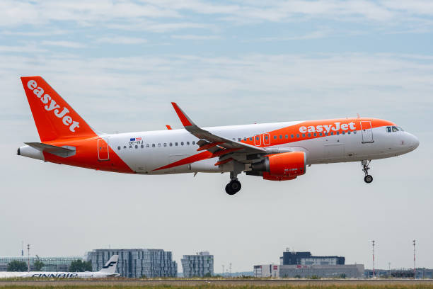 Airbus A320-214 operated by easyJet Europe on landing OE-IVJ, July 11, 2019, Airbus A320-214-5688 landing on the runways of Paris Roissy Charles de Gaulle Airport at the end of easyJet flight U23956 from Malaga val d'oise stock pictures, royalty-free photos & images