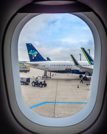 Airbus A320neo window, wing, winglets, Azul  / Guarulhos, SP, Brazil.