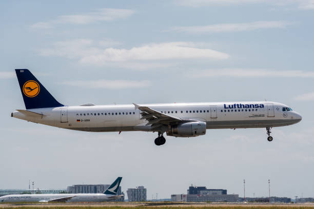 Airbus A321-131 operated by Lufthansa on landing stock photo