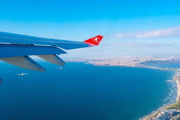 Airbus A330 - 300 wing and wing tip device during Turkish Airlines Airbus A-330 flight in the sky on December 27. 2017 in Turkey stock photo