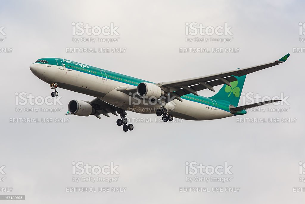 Airbus A330 Aer Lingus arrives at JFK Airport stock photo