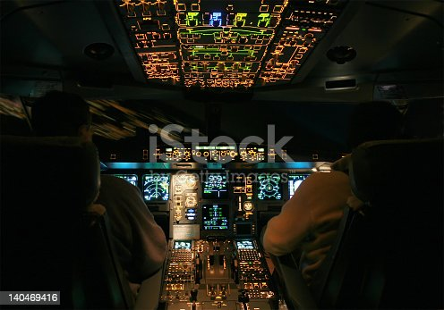 Airbus A330 Night Cockpit Landing Stock Photo & More ...