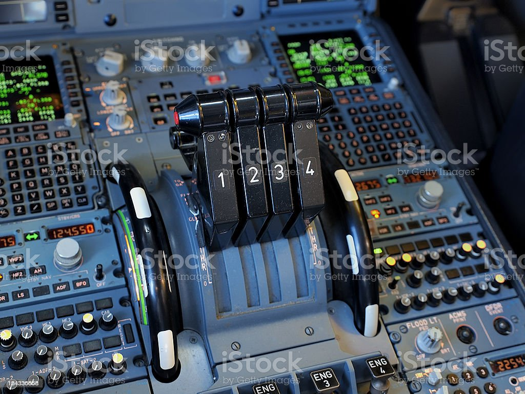 Airbus A340 Thrust Levers royalty-free stock photo