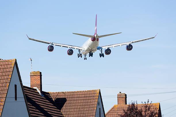 Airbus A340 Virgin Atlantic lands at Heathrow stock photo