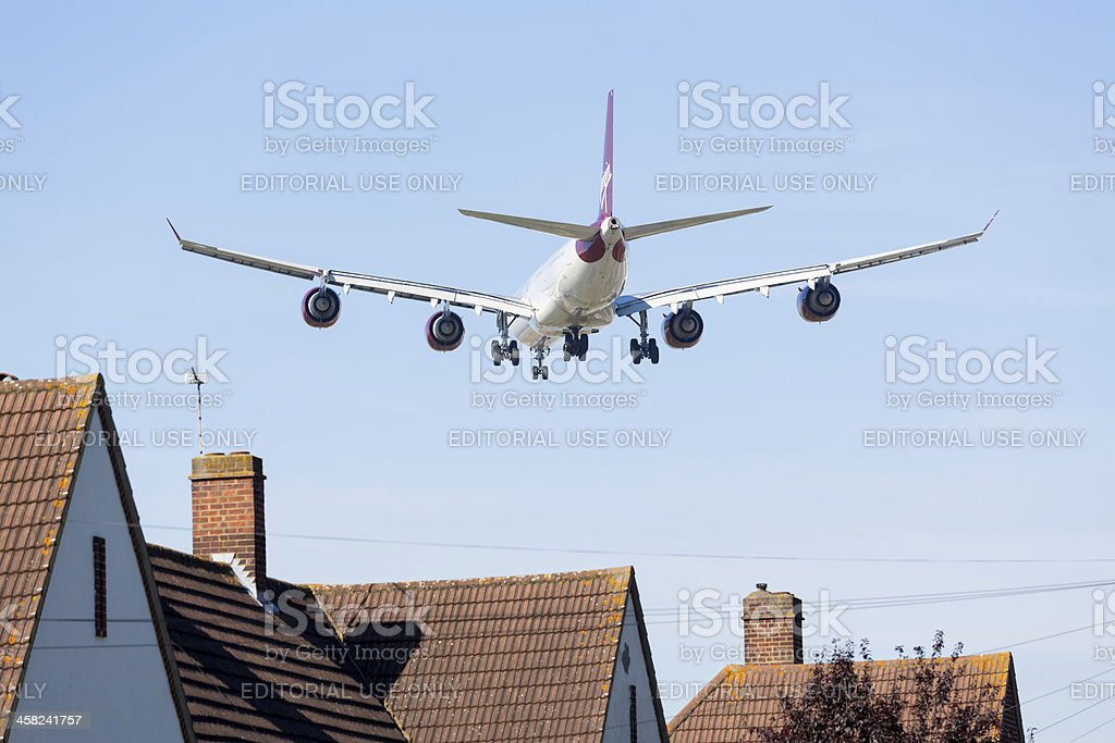 Airbus A340 Virgin Atlantic lands at Heathrow stock photo