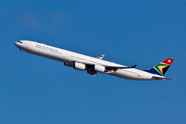 airbus a340-600 south africa airways - respiratory tract stock photos and pictures