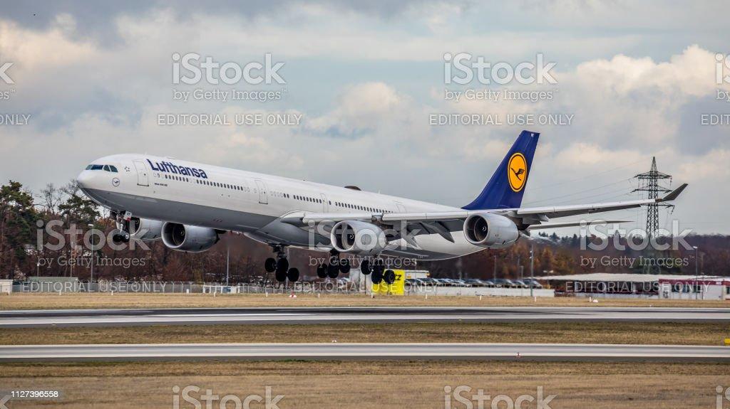 Airbus A340-642 Lufthansa landet am Flughafen Frankfurt Am Main – Foto