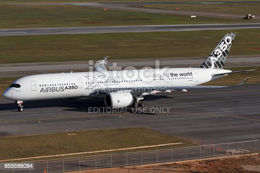 istock Airbus a350 900 at Guarulhos International Airport in Sao Paulo Brazil 655588094