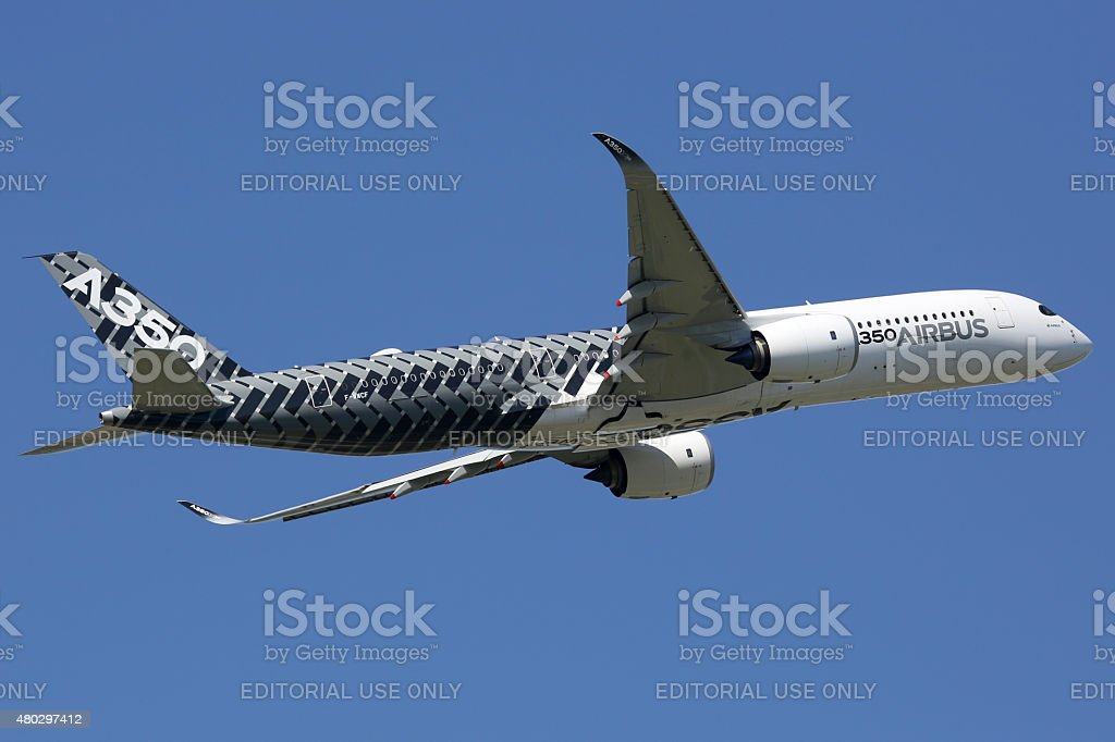 Airbus A350 airplane Toulouse airport stock photo