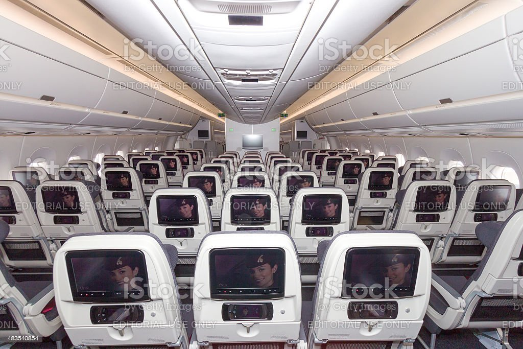 Airbus A350 cabin stock photo